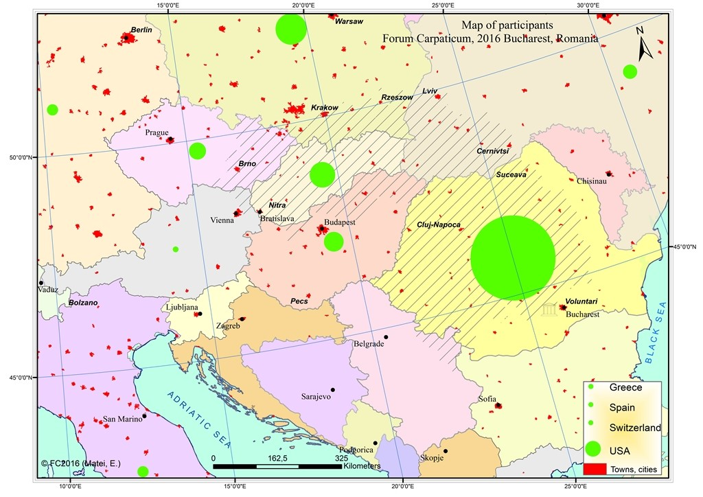 Map of participatants to Forum Carpaticum 2016. Author: Matei, E., University of Bucharest, 2016